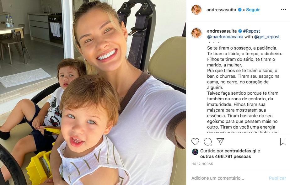 A famosa digital influencer Andressa Suita revelou detalhes de sua vida como mãe (Foto: Reprodução/Instagram)