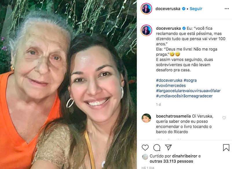 A viúva do apresentador da Band, Ricardo Boechat, Veruska Seibel ao lado de sua sogra, Mercedez (Foto: Reprodução/Instagram)