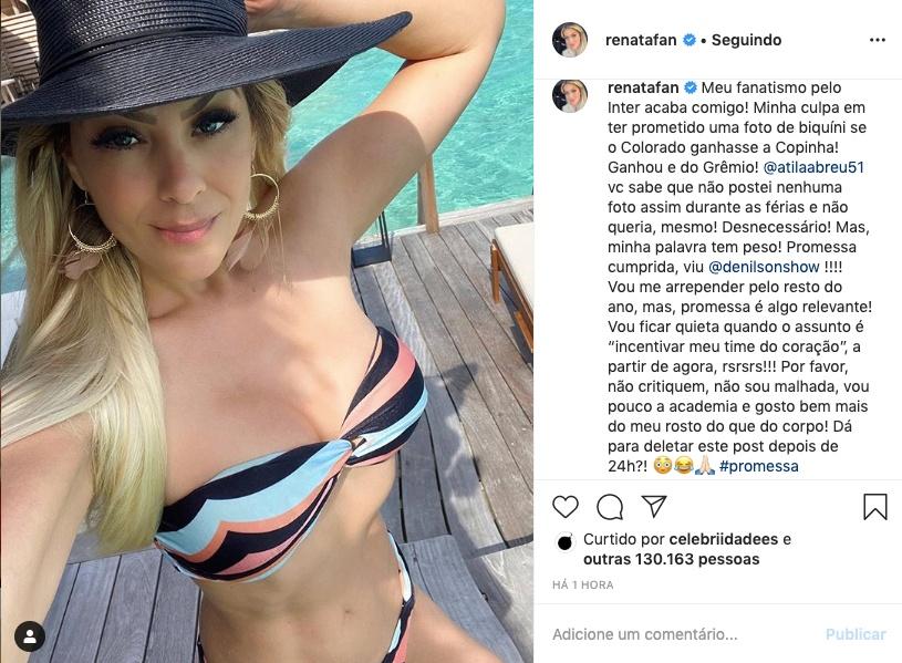 Renata Fan cumpre promessa e posta foto de biquíni ao vivo no Jogo Aberto. Foto: Reprodução