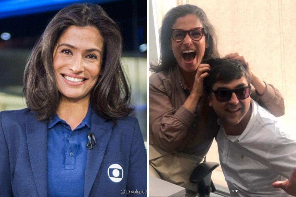 Renata Vasconcellos é flagrada em momento descontraído com colega da Globo e imagem vaza