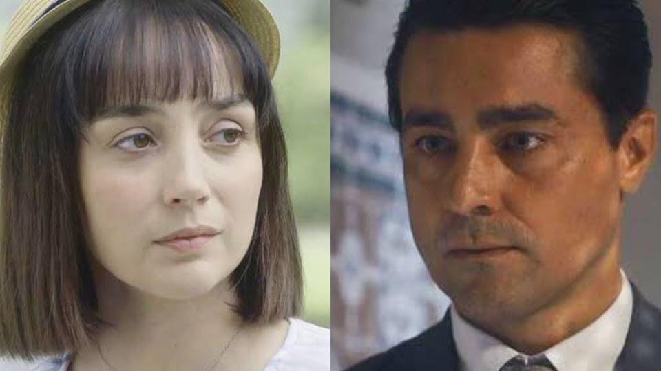Clotilde (Simone Spoladore) revelará para Almeida (Ricardo Pereira) que teve filho dele em Éramos Seis (Foto: Reprodução/Globo)