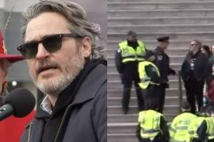 Joaquin Phoenix, intérprete de coringa, é preso durante protesto nos EUA (Foto: Reprodução)
