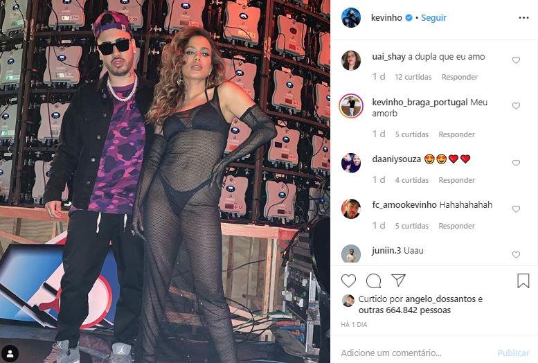 Kevinho compartilhou um registro ao lado de Anitta (Foto: Reprodução/Instagram)