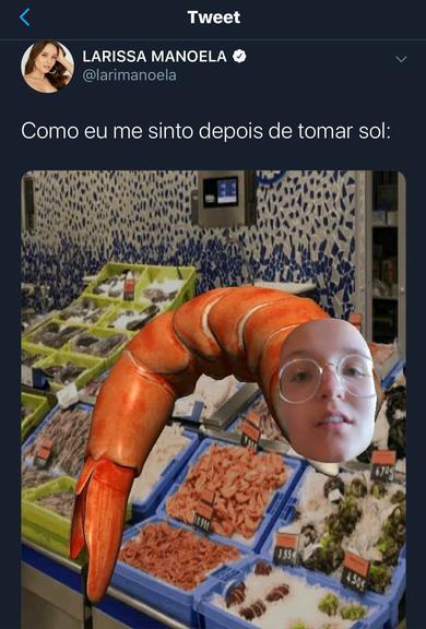 Larissa Manoela compartilha foto onde aparece em corpo de camarão (Imagem: Twitter)