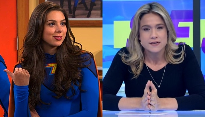 Kira Kosarin em cena de The Thundermans e Fernanda Gentil no Se Joga; série exibida no SBT venceu Record e Globo na audiência (Foto: Divulgação/Nickelodeon e Reprodução/Globo)