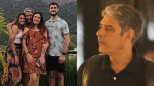William Bonner e os filhos, Bia, Laura e Vinícius Bonemer (Foto: Rodrigo Adão/AgNews/Instagram/Montagem TV Foco)