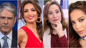 William Bonner e Patrícia Poeta; Sônia Abrão e Anitta são algumas das celebridades que não mantêm boa relação entre si (Reprodução) globo