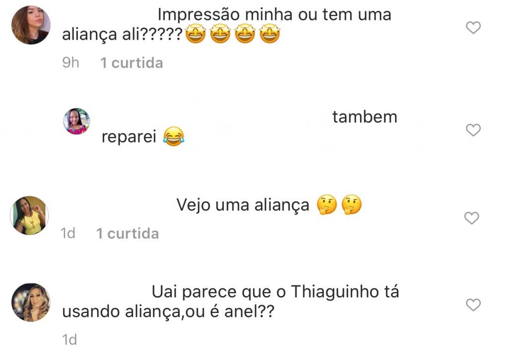 Thiaguinho e uma suposta aliança em sua mão chama a atenção dos internautas (Imagem: Reprodução/Instagram)