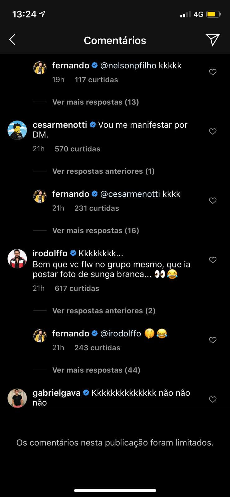 Comentários integram os fãs (Foto: Reprodução/Instagram)