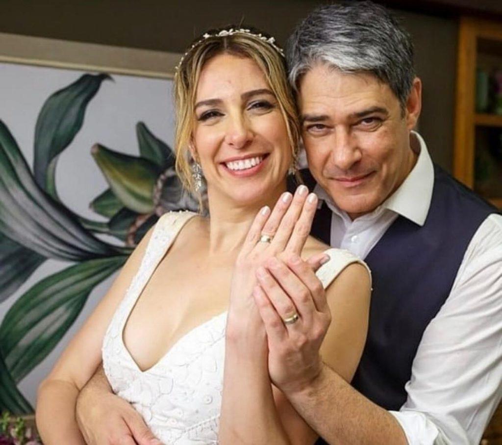 Perfil na internet divulgou clique raro do casamento de William Bonner e Natasha Dantas (Reprodução)