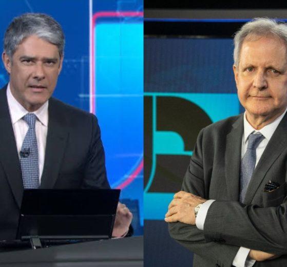 William Bonner e Augusto Nunes (Foto: Reprodução/Globoplay/Divulgação/Record/Montagem TV Foco)