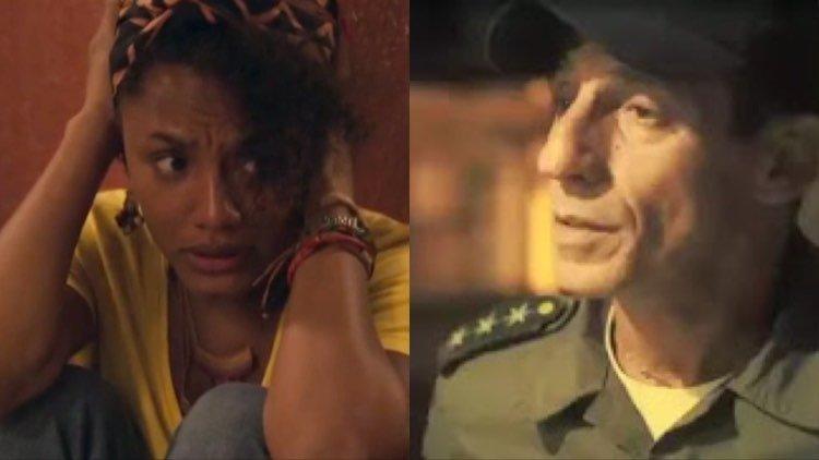 Camila, grávida, passará por maus bocados nas mãos dos policiais, inclusive Belizário (Montagem: TV Foco)