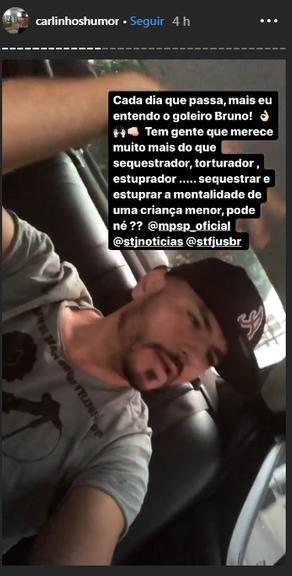 Carlinhos Silva, o Mendigo do Pânico, se compara a goleiro Bruno (Foto: Reprodução/Instagram)