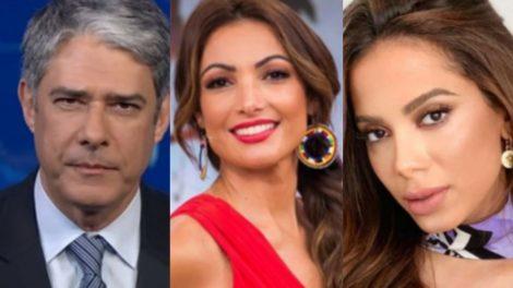 William Bonner e Patrícia Poeta; Sônia Abrão e Anitta são algumas das celebridades que não mantêm boa relação entre si (Reprodução)