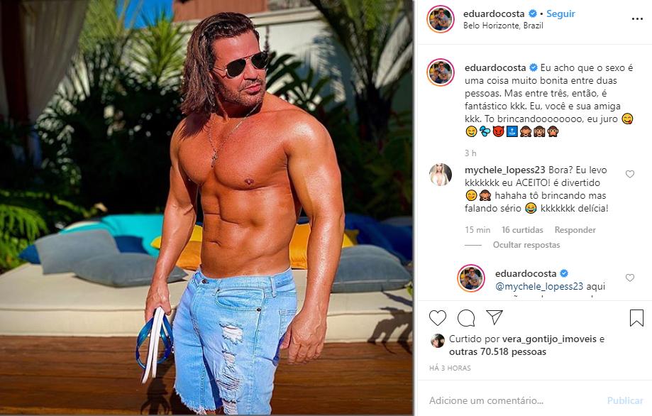 Eduardo Costa propôs sexo a três a suas seguidoras (Foto: Reprodução/ Instagram)