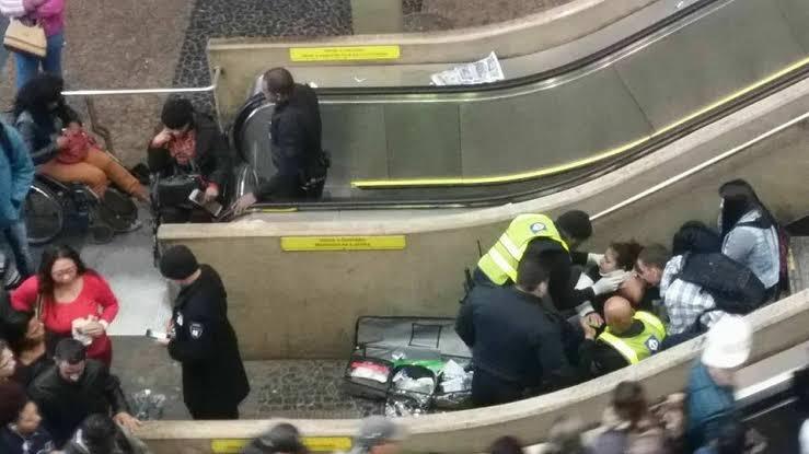 Cade a sala de crise? Escada da linha vermelha quebra e 11 pessoas são feridas (Foto: reprodução)