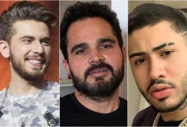 Gustavo Mioto, Luciano Camargo e Kevinho foram vítimas de rumores e acusações envolvendo relações homossexual. Foto: Reprodução