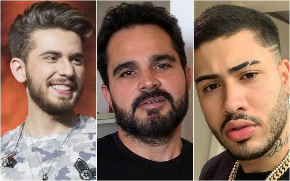 famosos cantores Gustavo Mioto, Luciano Camargo e Kevinho foram vítimas de rumores e acusações envolvendo relações homossexual. Foto: Reprodução