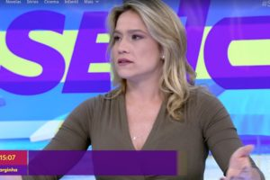 Fernanda Gentil foi pega desprevenida no Se joga e deixou atitude transparecer ao vivo (Foto reprodução)