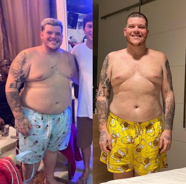 Ferrugem exibindo o seu antes e depois após perda de 33 quilos (Foto: Montagem)