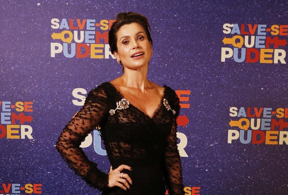 Flavia Alessandra na coletiva de imprensa da nova novela