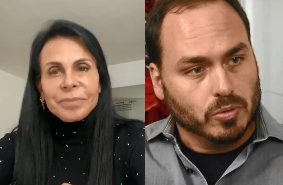 Cantora e Carlos Bolsonaro (Foto: Reprodução) Gretchen