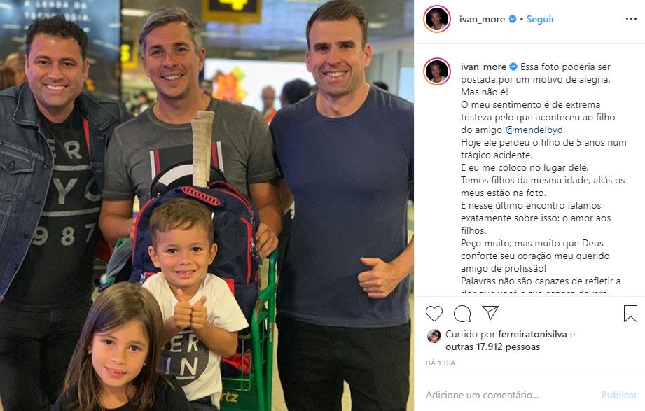 Ivan Moré prestou homenagem para o filho do jornalista de cinco anos que morreu (Foto: Reprodução/ Instagram)