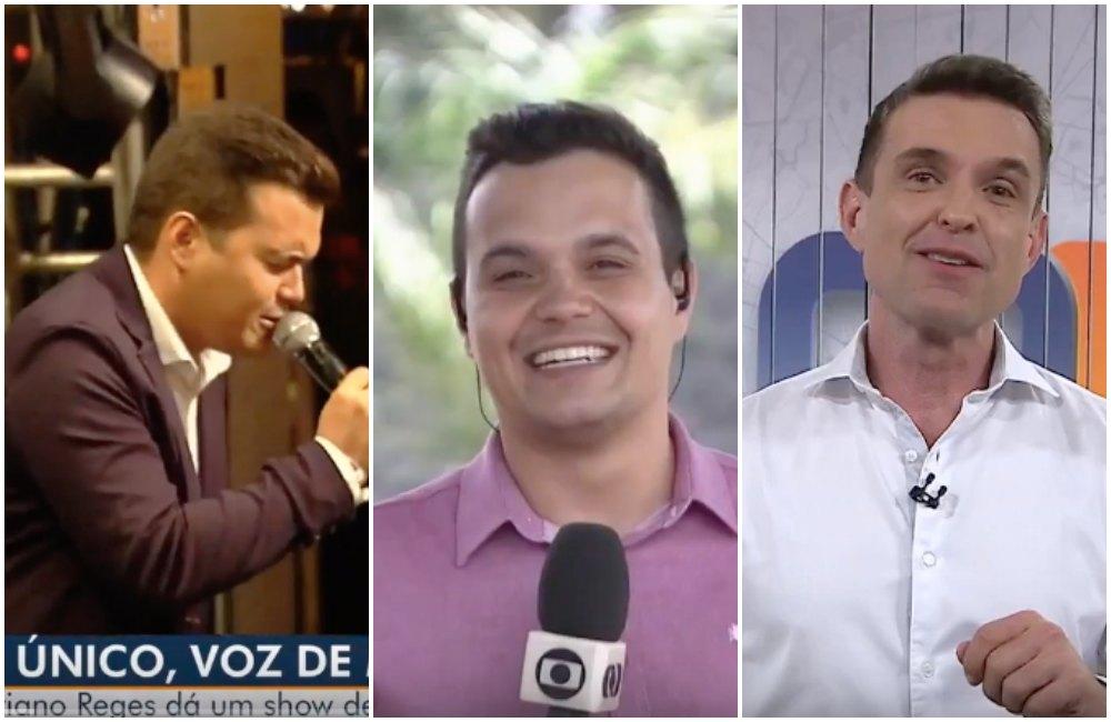 Jornalista da Globo, Adriano Reges e o âncora do JA1, Fábio Castro. Foto: Reprodução