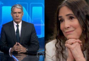 globo William Bonner e Regina Duarte (Foto: Reprodução/TV Globo/Montagem TV Foco)