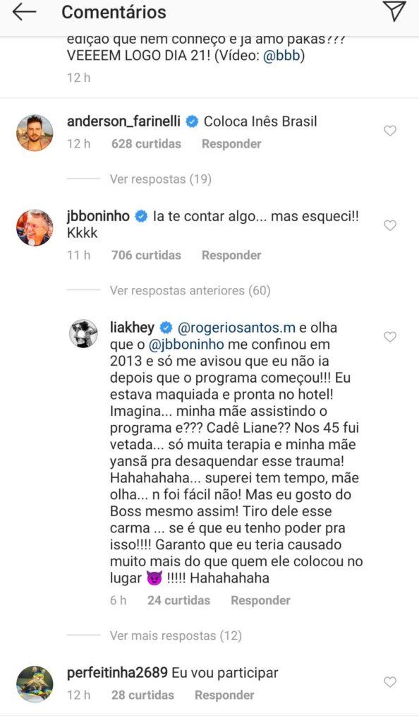 Lia expõe atitude do diretor Boninho (Foto: Reprodução)