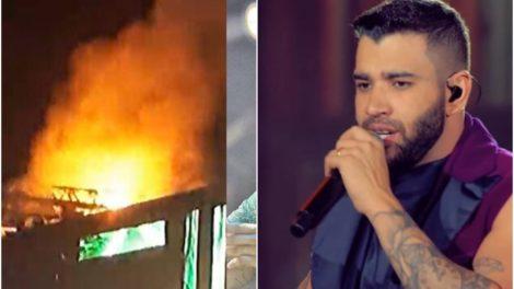 Palco com show de Gusttavo Lima teve princípio de incêndio (Reprodução)
