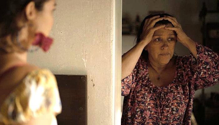 Lurdes (Regina Casé) ficará desesperada ao saber que Magno levou facada em Amor de Mãe (Foto: Reprodução/Globo)