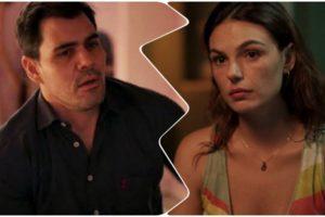 Fotomontagem do TV Foco da novela Amor de Mãe com Magno preocupado e Betina apreensiva