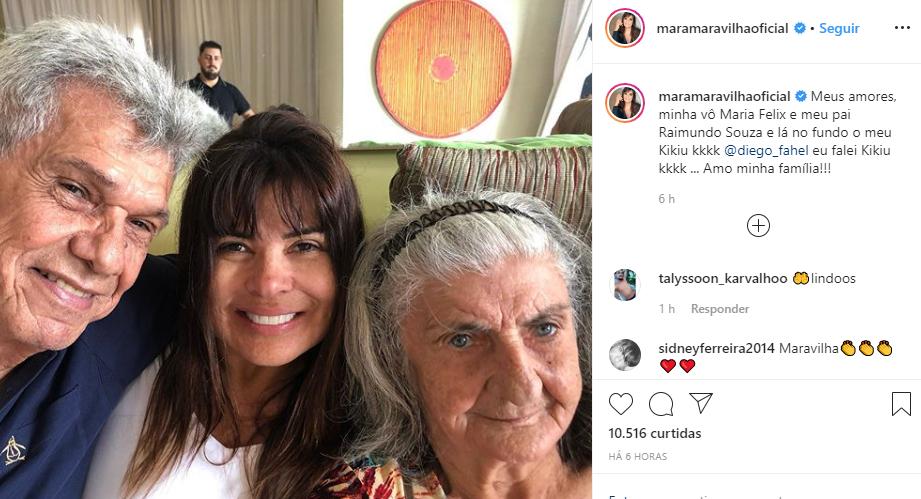 Mara Maravilha surgiu em foto tocante ao lado da família (Foto: Reprodução/ Instagram)