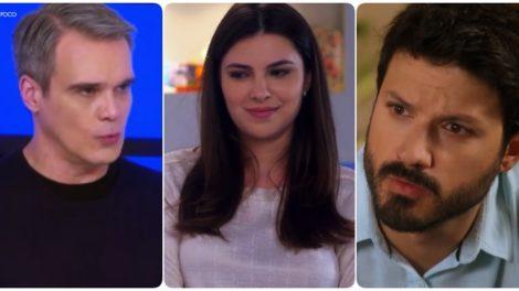 Pendleton, Luisa e Marcelo na novela As Aventuras de Poliana