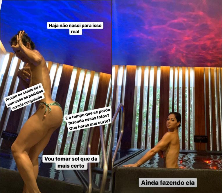 Mayra Cardi fez topless para entrar em piscina congelada (Foto: Reprodução/ Instagram)