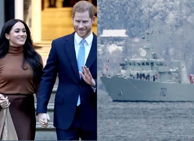 Mansão de Harry e Meghan Markle é protegida por um navio (Foto: Getty Images e Backgrid)