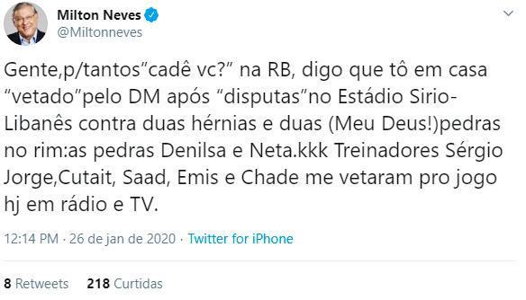 Milton Neves é internado com dores intensas (Foto: Reprodução/Instagram/Twitter)