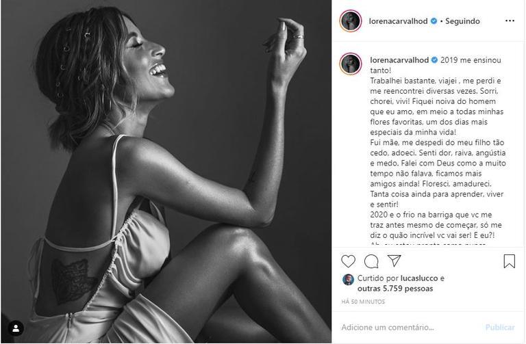 Noiva de Lucas Lucco, Lorena Carvalho fez balanço de como foi seu 2019 e conta o que está esperando do novo ano (Foto: Instagram)
