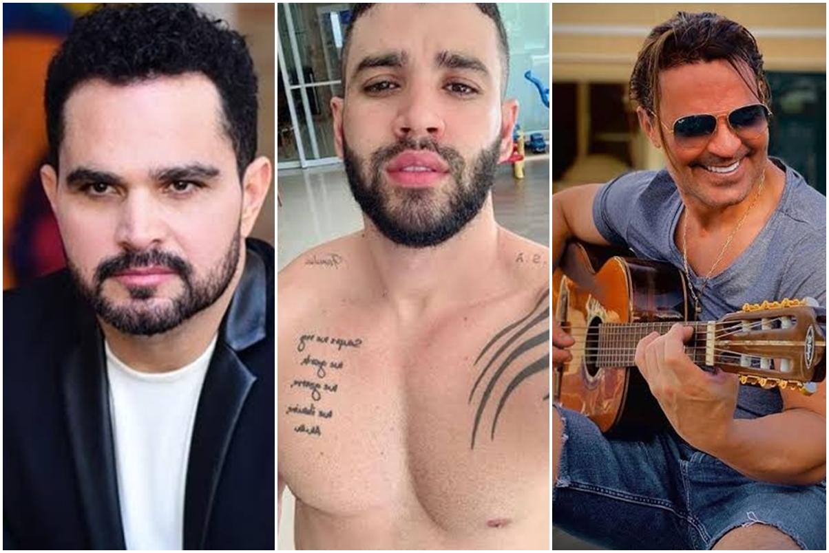 Os cantores Luciano Camargo, Gusttavo Lima e Eduardo Costa tem algo inusitado em comum (Foto: reprodução)