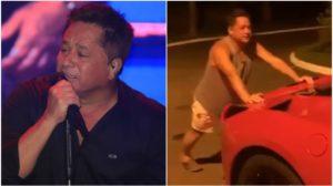Leonardo teve que empurrar o carro após veículo ficar sem gasolina (Foto: Reprodução/ Instagram)