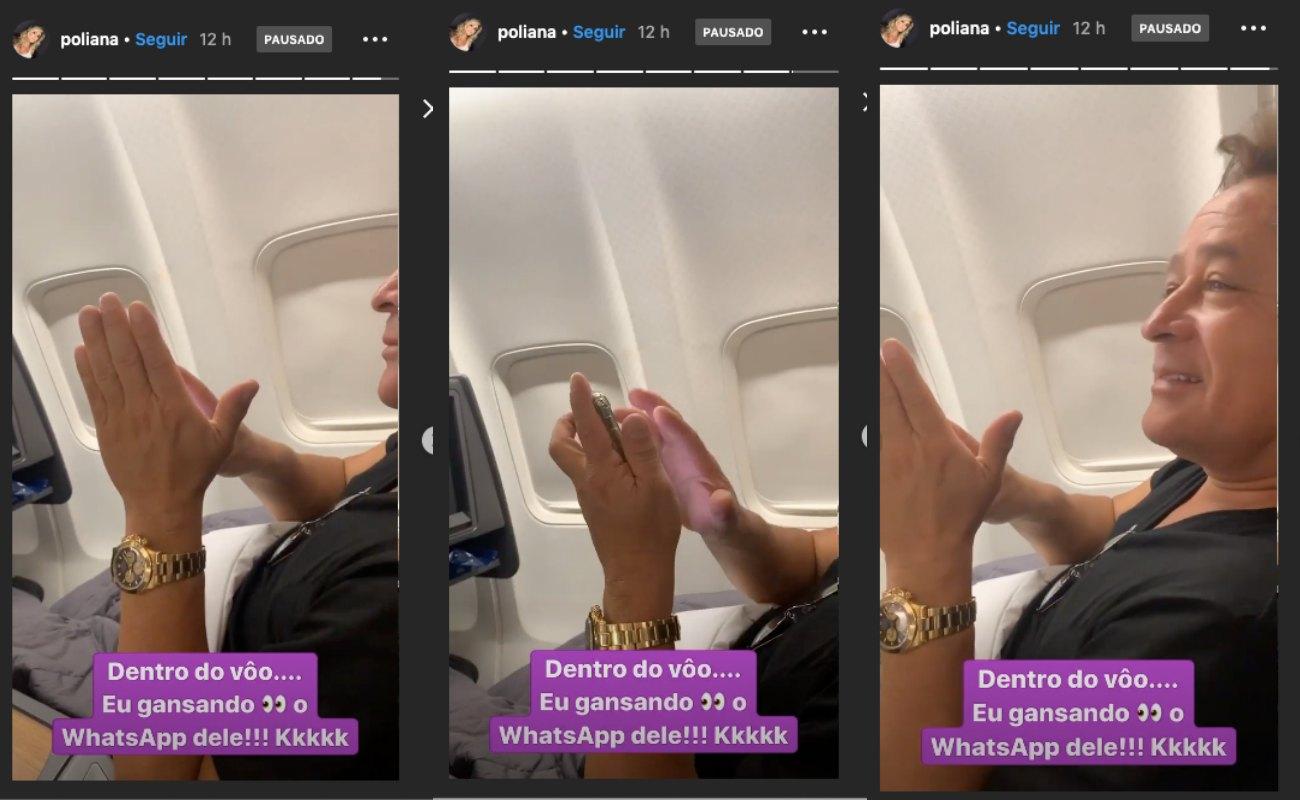 Poliana Rocha tenta espiar celular de Leonardo e cantor faz barreira com a mão para impedi-lá. Foto: Reprodução