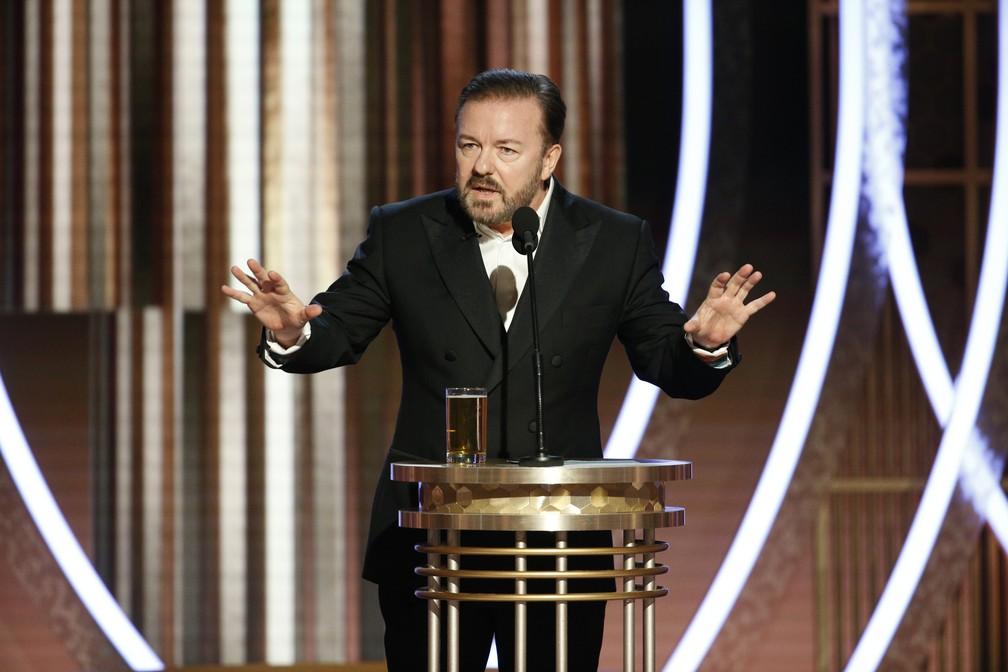 Ricky Gervais causa polêmica com discurso de abertura do Globo de Ouro 2020 (Foto: Reprodução)
