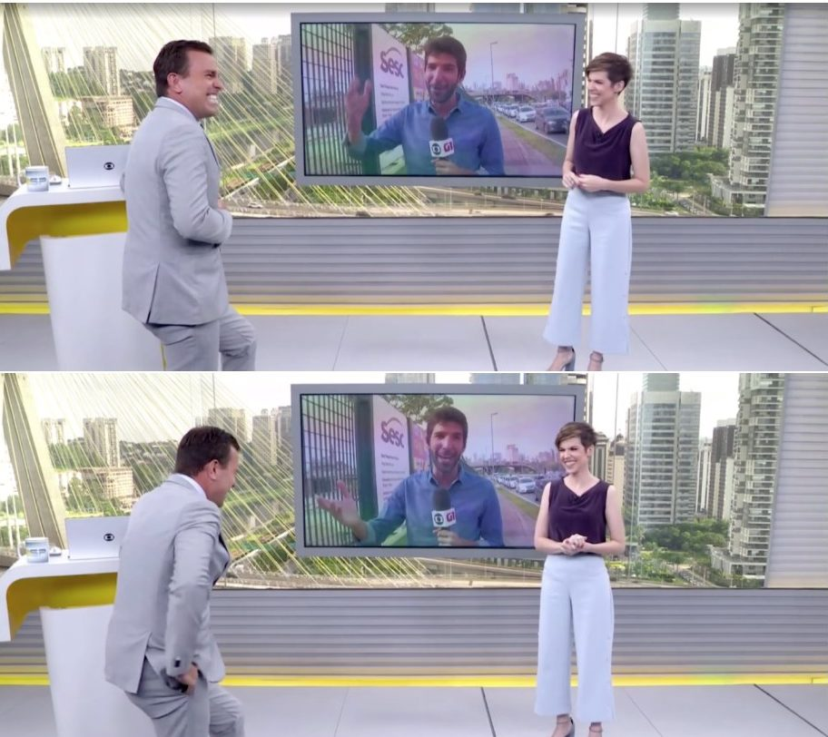Rodrigo Bocardi tem crise de riso ao vivo na Globo. Foto: Reprodução