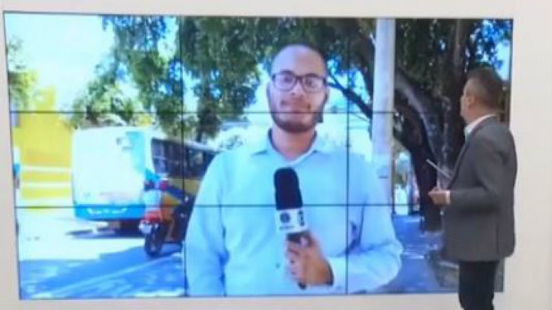 Samuel Bonicontro ao vivo em jornal (Foto: Reprodução)