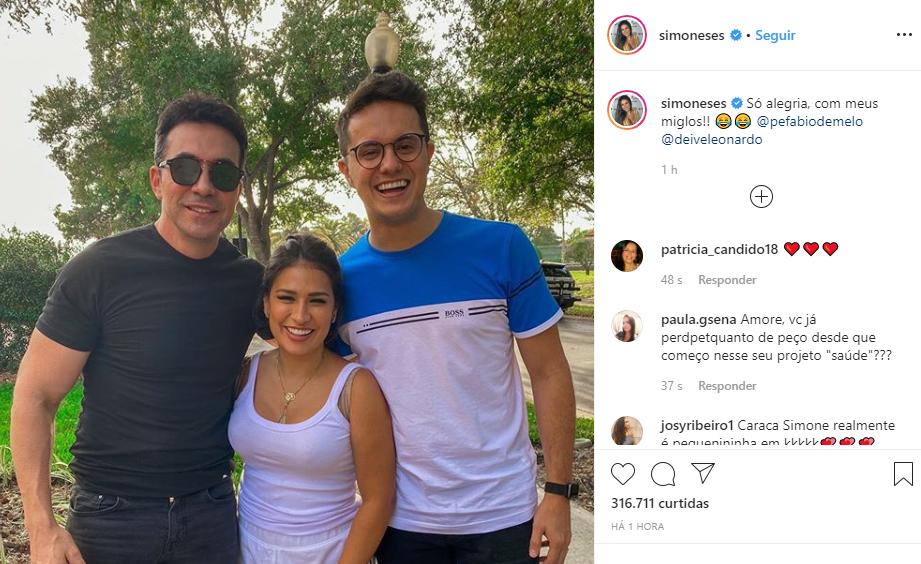 Simone promoveu encontro do Padre Fábio de Melo com Deive Leonardo (Foto: Reprodução/ Instagram)
