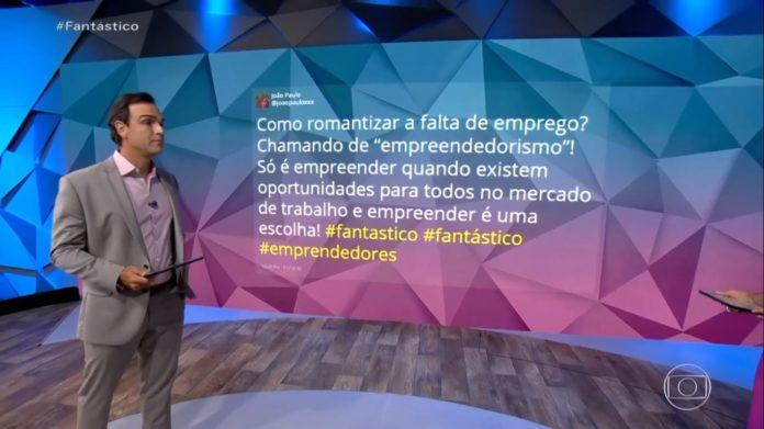 Tadeu Schmidt leu comentário crítico à reportagem da Globo (Reprodução)