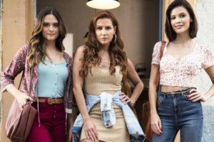 Juliana Paiva (Luna/Fiona), Deborah Secco (Alexia/Josimara) e Vitória Strada (Kyra/Cleyde) em Salve-se Quem Puder (Foto: João Miguel Júnior/Globo)