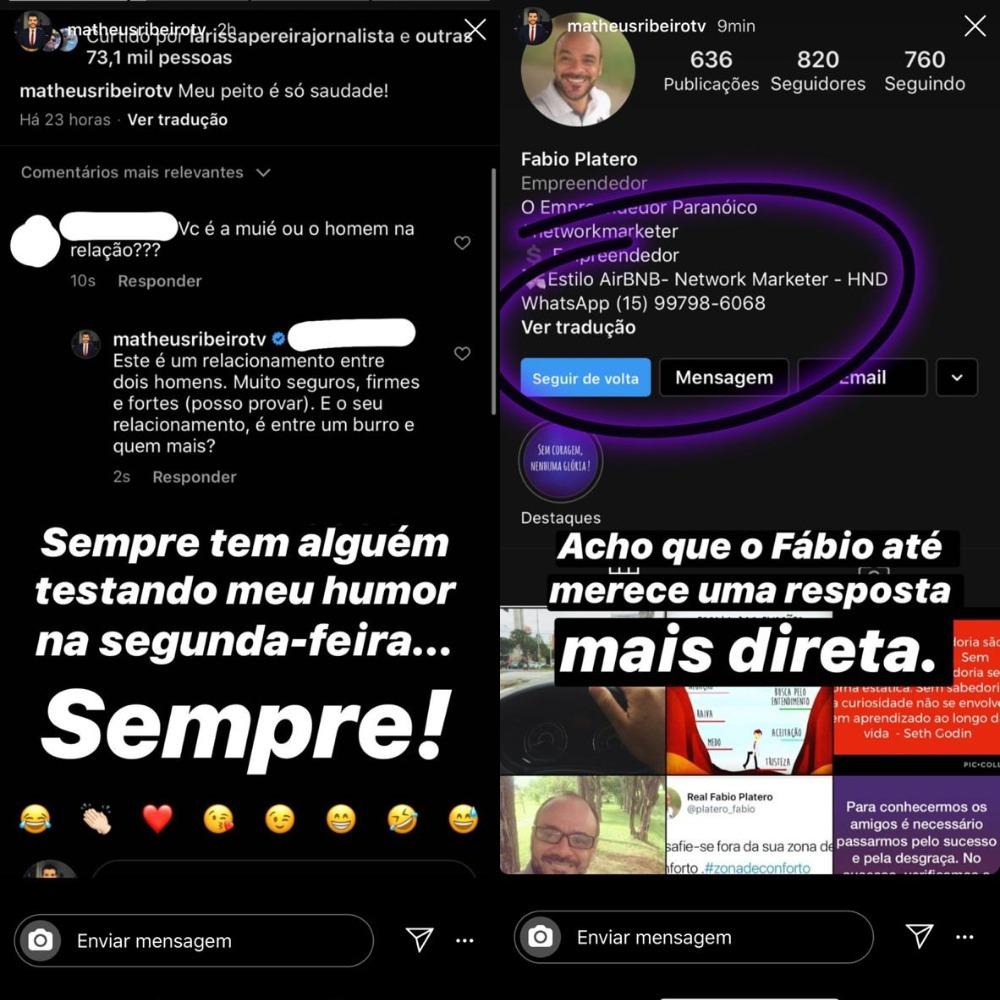 Matheus Ribeiro se revoltou na internet (Foto: Reprodução/Instagram)