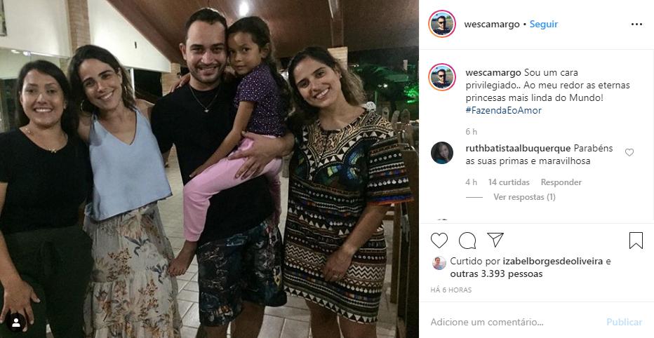 Wesley Camargo ao lado de Wanessa e Camilla (Foto: Reprodução/ Instagram)